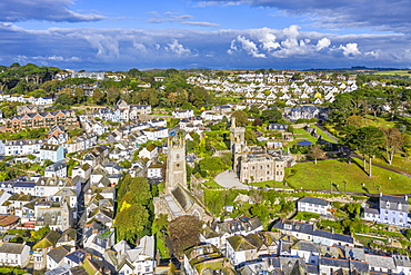Aerial view over Fowey, Cornwall, England, United Kingdom, Europe