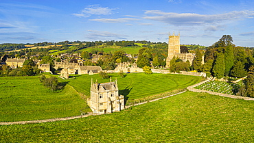 East Banqueting House and St. James' church, Chipping Campden, Cotswolds, Gloucestershire, England, United Kingdom, Europe