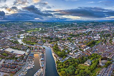 Aerial view over Exeter city centre and the River Exe, Exeter, Devon, England, United Kingdom, Europe