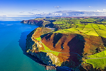 Aerial view over the Valley of the Rocks and Lynton, Exmoor National Park, North Devon, England, United Kingdom, Europe