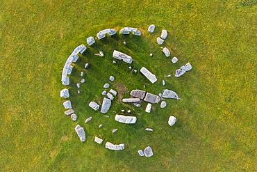 Stonehenge viewed from above, UNESCO World Heritage Site, Salisbury Plain, Wiltshire, England, United Kingdom, Europe