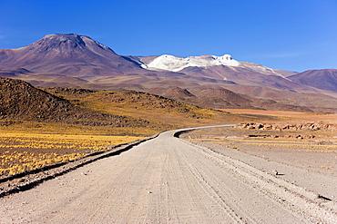 Laguna Miscanti at an altitude of 4300m and the peak of Cerro Miniques at 5910m, Los Flamencos National Reserve, Atacama Desert, Antofagasta Region, Norte Grande, Chile, South America