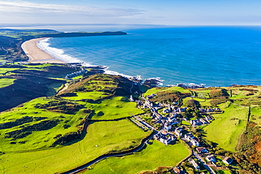 Aerial view over Mortehoe and Woolacombe Bay, North Devon, England, United Kingdom, Europe