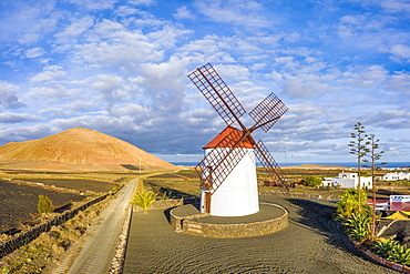 Traditional windmill and volcanic landscape, Tiagua, Lanzarote, Canary Islands, Spain, Atlantic, Europe