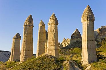 Phallic pillars known as fairy chimneys in the valley known as Love Valley near Goreme in Cappadocia, Anatolia, Turkey, Asia Minor, Eurasia