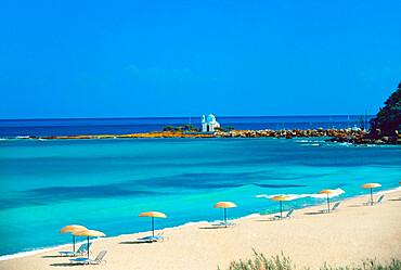 Chapel on the beach, Yaliskari, Ikaria island, Greek Islands, Greece, Europe