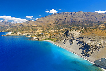 Aerial view of Agios Pavlos Beach on the island of Crete, Greek Islands, Greece, Europe