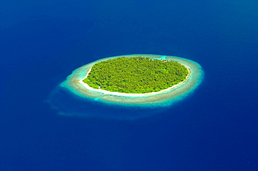 Aerial view of a Desert Island, The Maldives, Indian Ocean, Asia