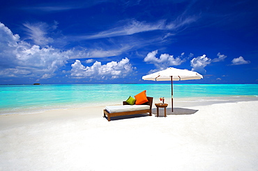 Sofa and tropical beach, The Maldives, Indian Ocean, Asia