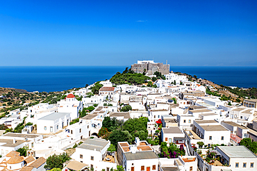 Aerial photo by drone of the Monastery of Saint John the Theologian, UNESCO World Heritage, Patmos island, Greece
