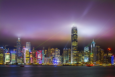 Nightscape of Hong Kong Island sykline and Victoria Harbour, Hong Kong, China, Asia