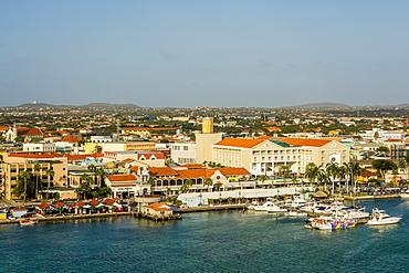 Aerial view of Oranjestad, Aruba, ABC Islands, Dutch Antilles, Caribbean, Central America