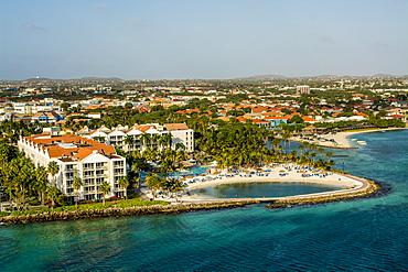 Aerial view of resort Oranjestad, Aruba, ABC Islands, Dutch Antilles, Caribbean, Central America