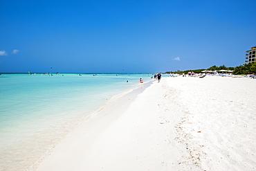 Windsurfing kitesurfing on Hadicurari Beach, Aruba, ABC Islands, Dutch Antilles, Caribbean, Central America