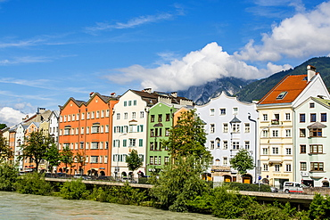Colorful buildings lining the Inn River, Old Town, Innsbruck, Tyrol, Austria, Europe