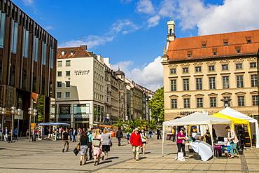 Part of Central Square, Marienplatz, Munich, Bavaria, Germany, Europe