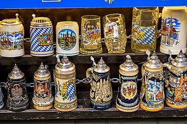Souvenirs at the Viktualienmarkt, a central food or farmers market, Munich, Bavaria, Germany, Europe