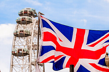 The London Eye (Millennium Wheel) and Union flag, London, England, United Kingdom, Europe