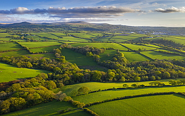 Aerial view by drone of rolling countryside near Dartmoor, Devon, England, United Kingdom, Europe