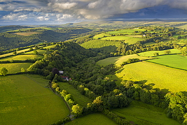 Aerial view by drone of rolling countryside near Brentor in Devon, England, United Kingdom, Europe