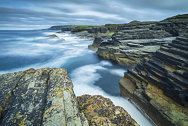 Dramatic coastal scenery on the north coast of Orkney, Scotland, United Kingdom, Europe