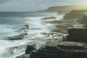 Dramatic coastline near the Brough of Birsay, Orkney, Scotland, United Kingdom, Europe