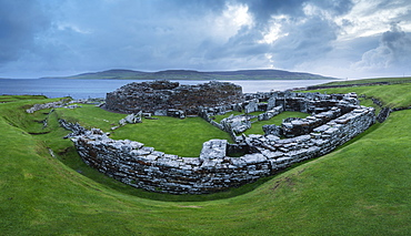 Broch of Gurness, an Iron Age village on the Mainland island of Orkney, Scotland, United Kingdom, Europe