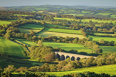 Viaduct forming part of the Granite Way surrounded by rolling Dartmoor countryside, Devon, England, United Kingdom, Europe