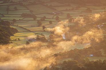 Mist floating over the Usk Valley at dawn, Brecon Beacons National Park, Powys, Wales, United Kingdom, Europe