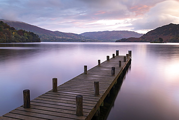 Wooden jetty on the shores of Ullswater at sunrise, Lake District National Park, UNESCO World Heritage Site, Cumbria, England, United Kingdom, Europe