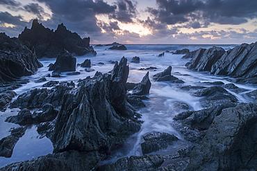 Sunset over the dramatic North Devon coast, Devon, England, United Kingdom, Europe