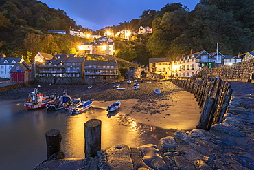 Night time view of Clovelly village in North Devon, England, United Kingdom, Europe