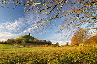 Glastonbury Tor on a beautiful winter morning, Glastonbury, Somerset, England, United Kingdom, Europe