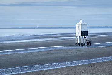 Burnham beach and wooden lighthouse in winter, Burnham-on-Sea, Somerset, England, United Kingdom, Europe