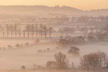 Mist shrouded countryside at dawn in winter, near Glastonbury, Somerset, England, United Kingdom, Europe