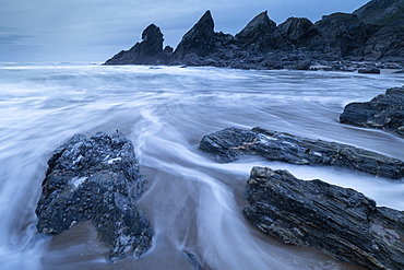 Soar Mill Cove on the South Hams Coast in winter, South Devon, England, United Kingdom, Europe