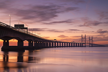 Sunset over the Prince of Wales Bridge in winter, Gloucestershire, England, United Kingdom, Europe