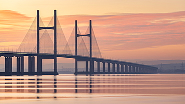 Prince of Wales Bridge spanning the River Severn at sunset in winter, Gloucestershire, England, United Kingdom, Europe