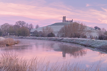 Church ruins on Burrow Mump at dawn on a frosty winter morning, Somerset, England, United Kingdom, Europe