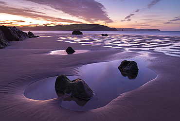 Tidal Pools on Bigbury beach at dawn, Bigbury-on-Sea, South Hams, Devon, England, United Kingdom, Europe