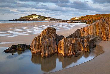 Burgh Island from Bigbury-on-Sea beach, South Hams, Devon, England, United Kingdom, Europe