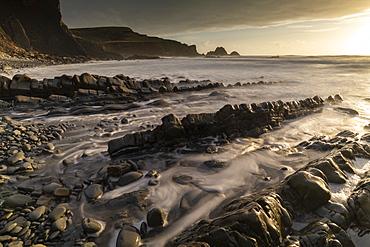 Dramatic ledges on the North Devon coastline, Devon, England, United Kingdom, Europe