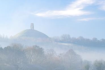 Glastonbury Tor on a misty winter morning, Somerset, England, United Kingdom, Europe
