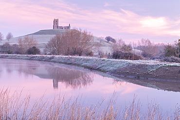 Burrow Mump Church at dawn on a frosty winter morning, Burrowbridge, Somerset, England, United Kingdom, Europe