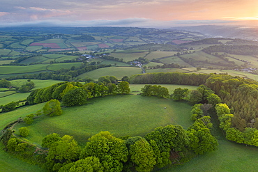 Cadbury Castle Iron Age Hillfort at dawn in spring, Cadbury, Devon, England, United Kingdom, Europe
