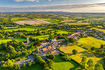 Aerial vista of the rural village of Morchard Bishop in summer, Devon, England, United Kingdom, Europe