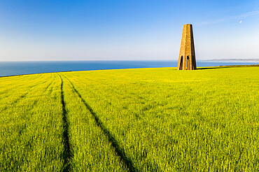 The Daymark, an octagonal day beacon near Dartmouth, Devon, England. Summer (June) 2020.