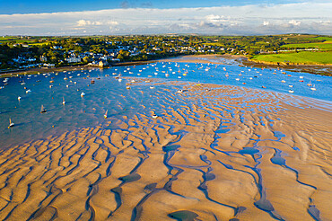 Aerial view of the Camel Estuary at low tide and the village of Rock, Cornwall, England, United Kingdom, Europe