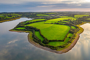 Aerial vista over Roadford Lake, Devon, England. Autumn (September) 2020.