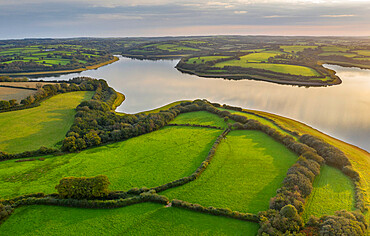 Aerial view of Roadford Lake Reservoir in autumn, West Devon, England, United Kingdom, Europe
